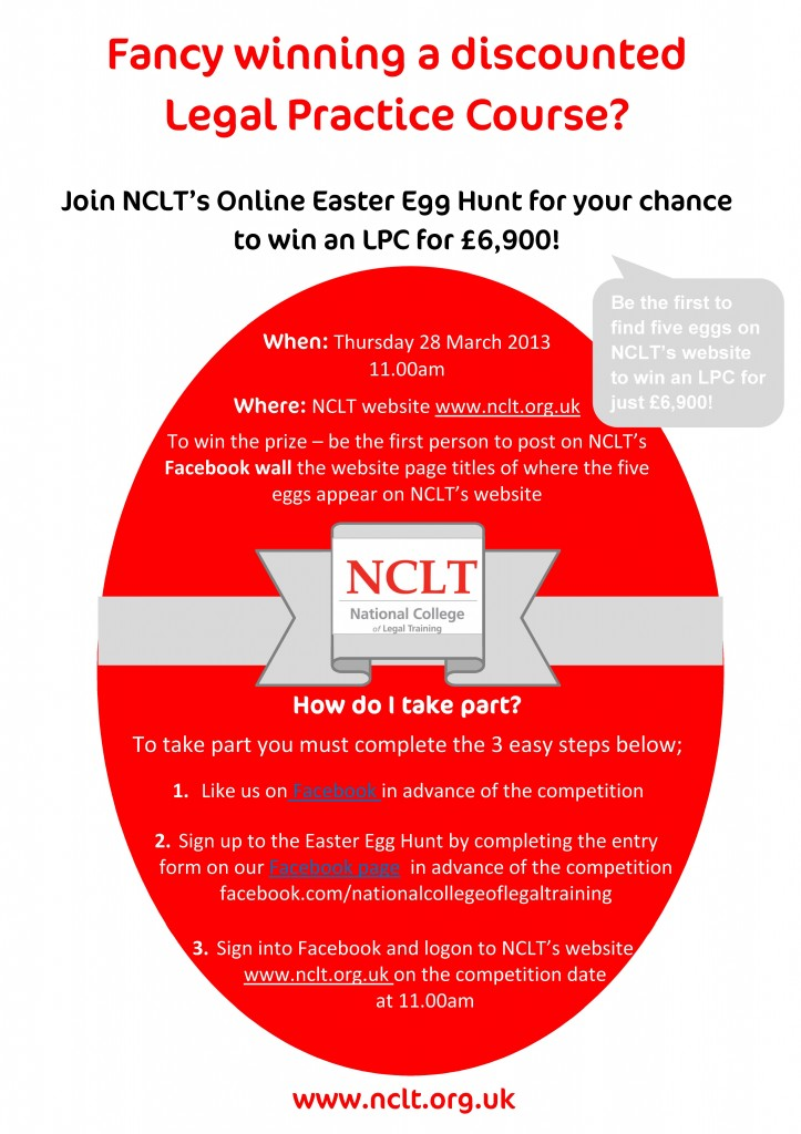 Join NCLT's Online Easter Egg Hunt for your chance to win an LPC for £6,900!