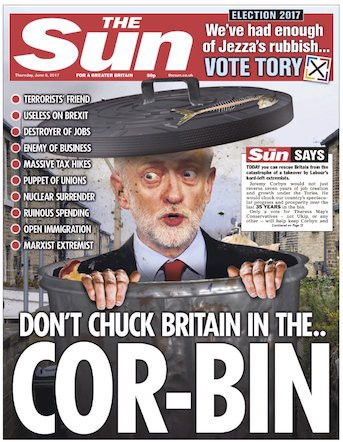 the sun general election front page corbyn