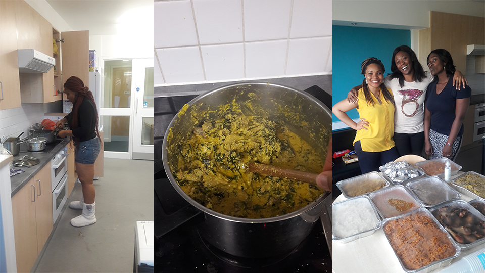 Chidinma cooking Moi-Moi, Jollof rice, Plantain, Beans, Abacha, and Egusi soup