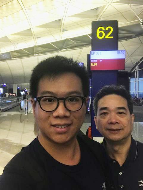 Jacky and his father at Hong Kong International Airport
