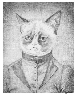 A portrait of a cat dressed in Victorian clothing and looking scornful