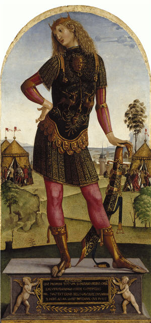 Portrait of Alexander the Great with long hair wearing a green dress, pink tights and gold boots in a pose which would be considered highly effeminate in modern western society.