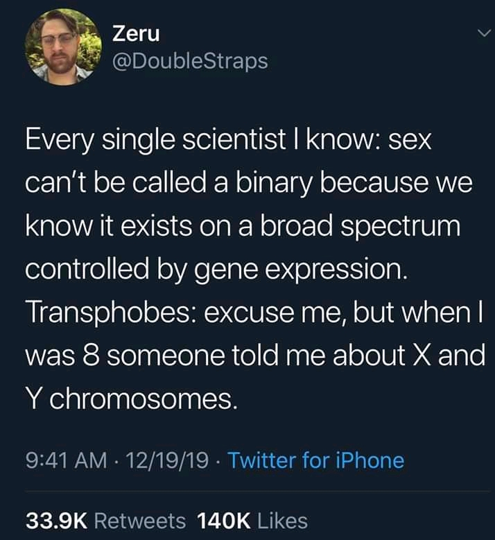 A screen capture of a tweet which points out that scientists recognise biological sex as a spectrum whereas transphobes rely on a very simplistic description of X and Y chromosomes taught at school