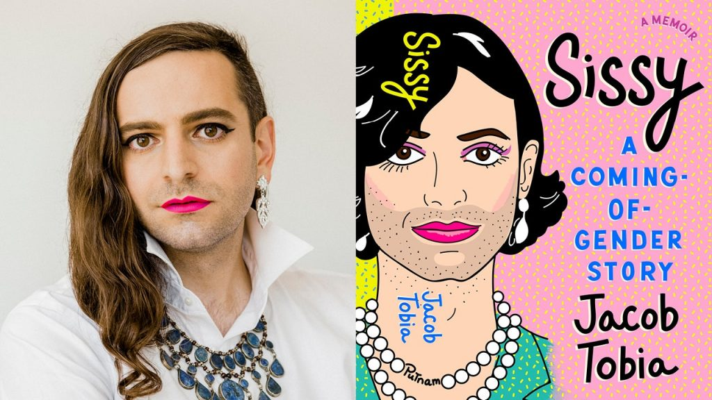 Image shows a photo of Jacob Tobia wearing makeup and clothes classed as feminine and the cover of their autobiography