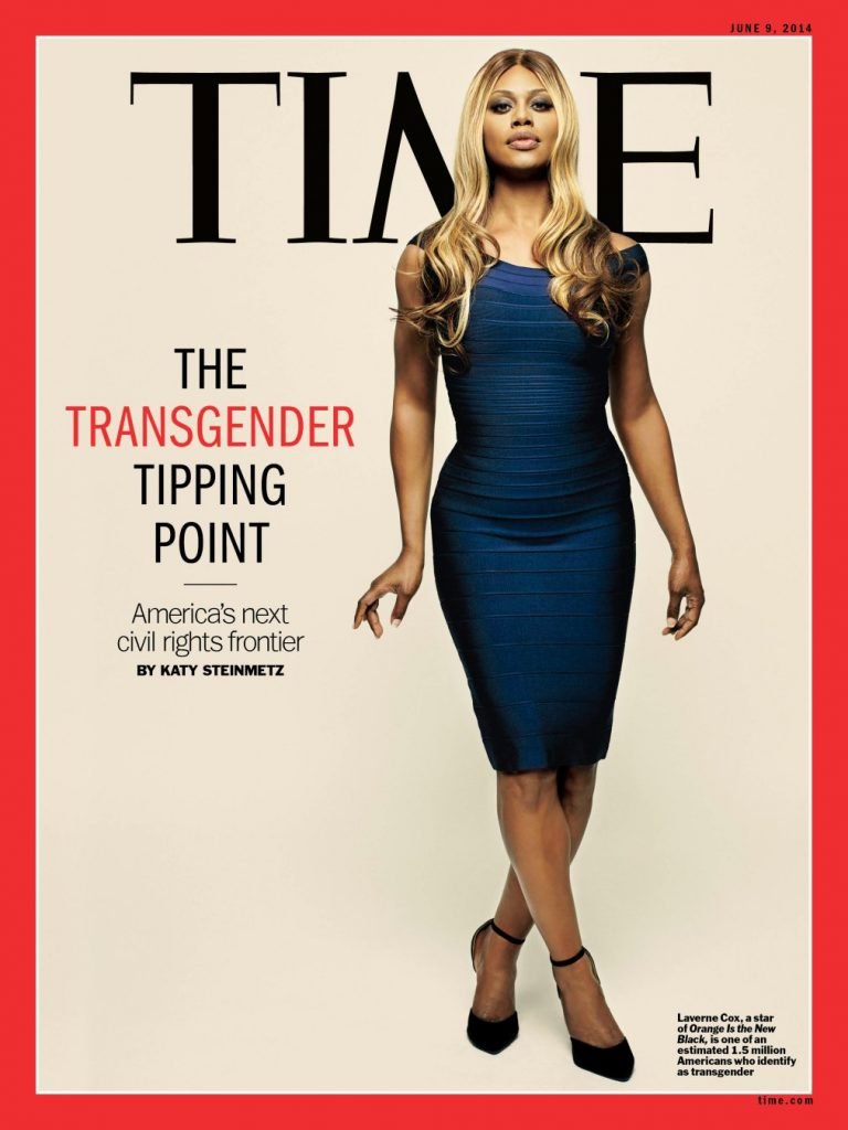 Image shows Laverne Cox on the cover of Time magazine