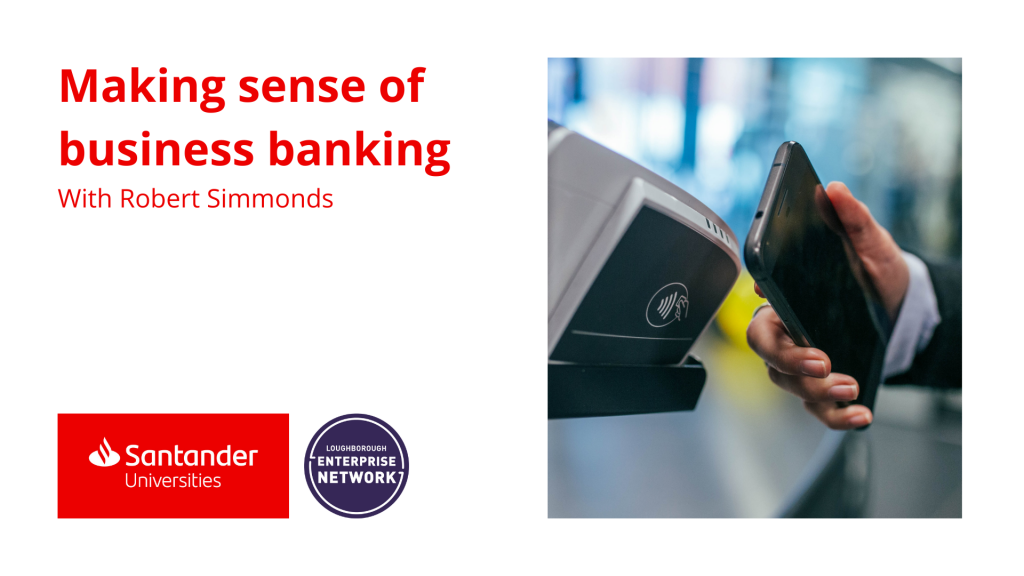 Santander logo. Phone touching against a contactless pay tab.