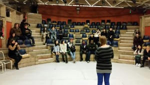 Students visiting the local theatre