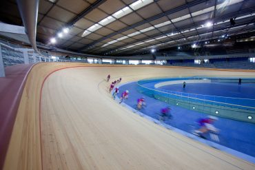 The Velodrome. The Herne Hill cyclists try out the new track in the Velodrome. Picture taken on 27 Jan 11 by David Poultney.