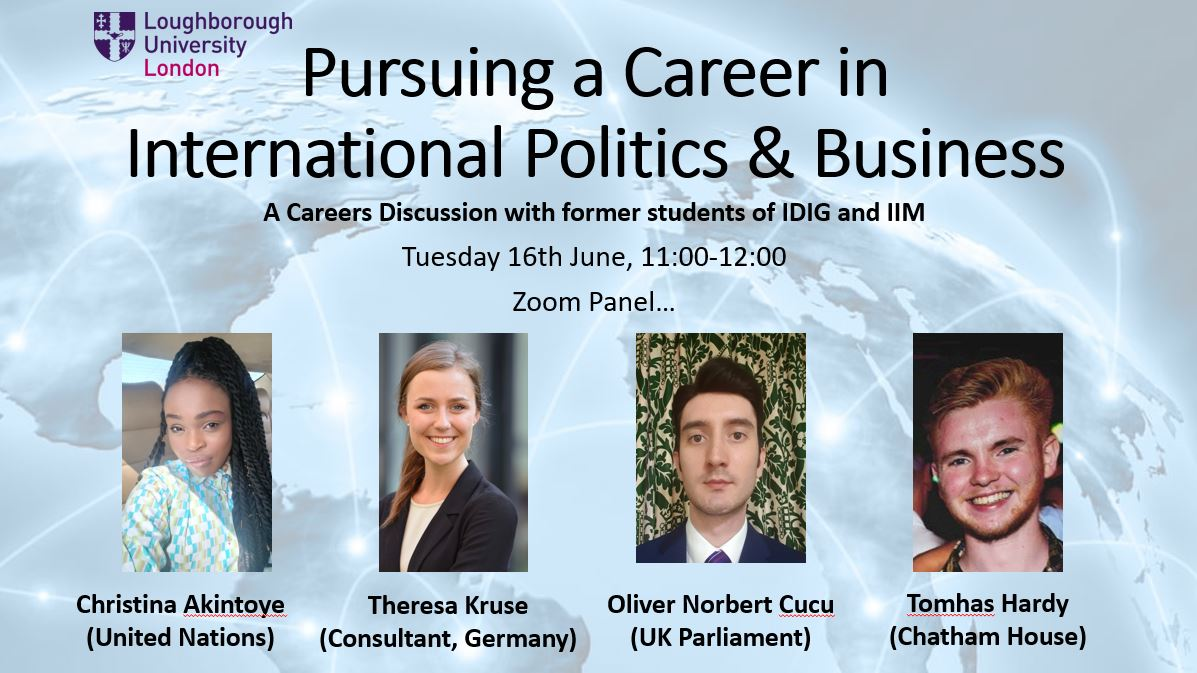 Pursuing a career in international politics and business