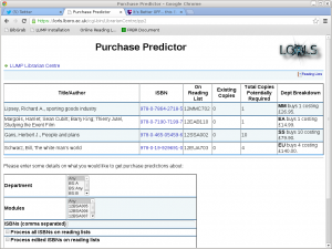 Purchase Predictor pp2 HTML showing suggested purchases for works in LORLS edited in the last day.