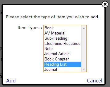 Sub-lists | Online Reading List Support