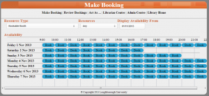 Sample booking screen