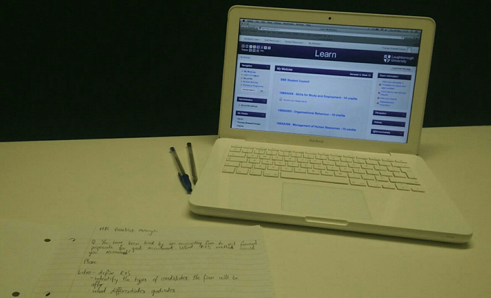 laptop and revision notes