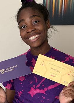 Jemima holding her 'Golden Ticket'