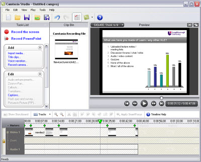 Screenshot from the Camtasia screen recording application