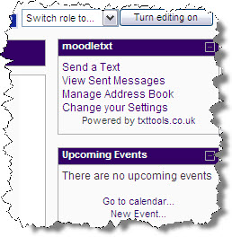 Screenshot of MoodleText block in Learn