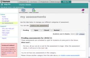 WebPA screenshot