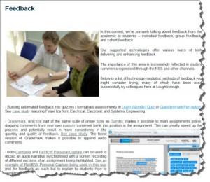 Feedback blog page