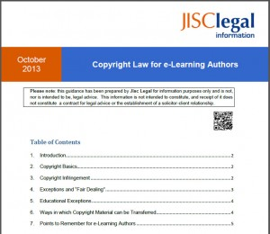 JISC legal Copyright for elearning authors