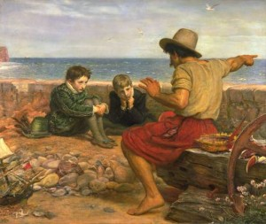 Photo of Millais' 1871 painting of a seafarer telling tales to a youthful Walter Raleigh