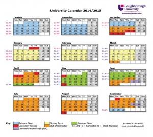 University Calendar (for staff) 2014-15
