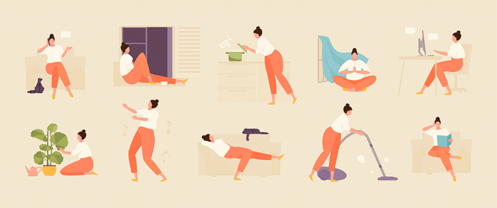 Illustrations showing routine, including: cooking, cleaning, working, dancing, reading and other activities